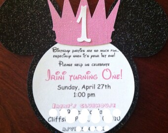 Princess Crown Minnie Mouse Inspired Custom Invitations Birthday Shower Announcements