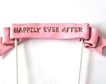 Custom Saying Wedding Cake Topper Banner in your choice of color for your perfect Wedding