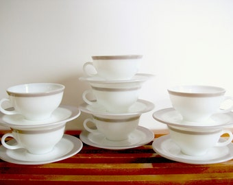 Pyrex Dove Gray Teacups and Saucers, Grey Band Dinnerware, Vintage Pyrex