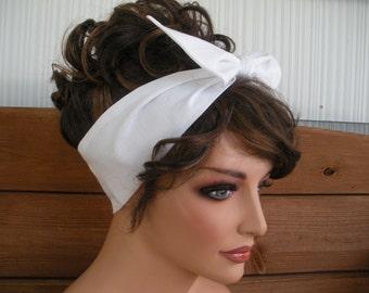 Womens Headband Dolly Bow Headband Retro Headband Fashion Accessories Women Head Scarf Headwrap Bandana in White - Choose color