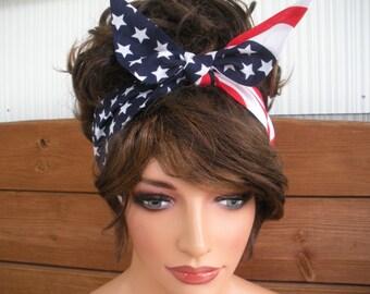 American Flag Headband 4th of July Headband Summer Accessories Women Headband Tie Up Bandana Headscarf by creationsbyellyn
