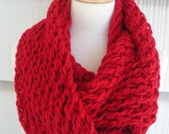 Womens Scarf Hand Knitted Scarf Cowl Winter Fashion Accessories Women Infinity Scarf in Holly Red by creationsbyellyn