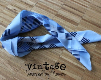 Blue and white geometric print vintage blue scarf. Boselli 30inx30in