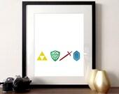 Video game poster, Zelda poster, print, video game print, Zelda illustration, rupee print, foil poster, gaming illustration, gold foil print