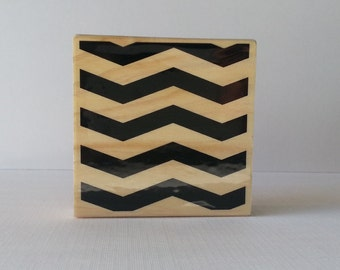 Chevron Pattern Wooden Mounted Rubber Stamping Block DIY cards, scrapbooking, tags, Greeting Cards, and Scrapbooking