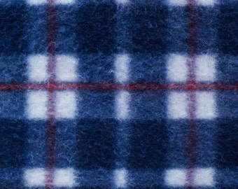 Blue Plaid Print 05 Fleece Fabric by the yard