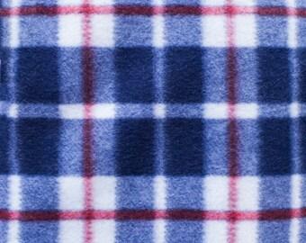 Blue Plaid Print 08 Fleece Fabric by the yard
