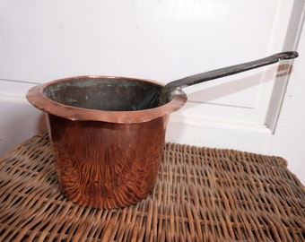 Antique French copper pan pot w iron handle, 1800s au bain marie pan saucepan, kitchenware French country cottage cooking kitchen ware gift