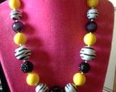 Super Cute Zebra And Yellow bubblegum Necklace