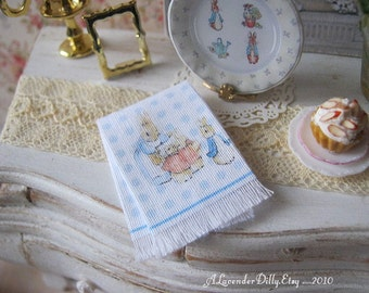 Peter Rabbit Fringed Tea Towel for Dollhouse, 1:12 scale