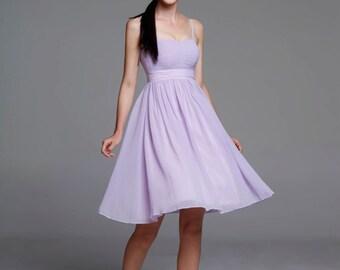 On Sale Size XXS Light purple Wedding dress/Silk Chiffon party dress/ bridesmaid dress/Prom/ handmade/ knee length formal dress - NC521-4