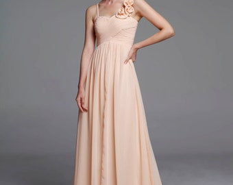 Champagne Wedding dress , Silk Chiffon party dress, mint bridesmaid dress, floor length formal dress - NC517