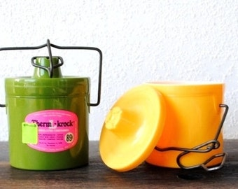 Retro Kitchen Food Storage Container Crocks, Plastic Bail Wire Yellow & Avocado Green