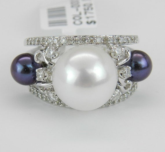 Black Pearl Ring Diamond Ring Statement Ring Right Hand Ring 18K White Gold Size 7