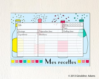 Recipe Cards set of 12 6x4 cards French Drinks Beverages Mes Recettes 2 sides gift for a cocktail Bridal shower gift hostess gift red