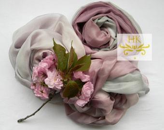 Bridal Silk Shawl.Platine and Burgundy Silk Shawl.Ruffle Silk Shawl Light Burgundy and Silver.Wedding Silk Shawls.Wedding Stole.Silk Scarf