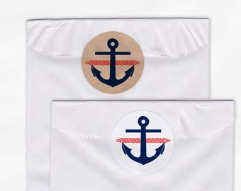 Anchor and Rope Nautical Wedding Favor Stickers - Custom Thank You White Or Kraft Round Labels for Bag Seals, Envelopes - Red & Navy (2013)