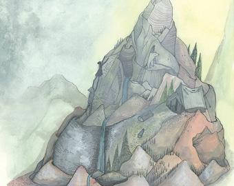 Grand Teton  /// Ink Watercolor on Illustration Board