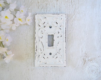 Cast Iron Toggle Switch Plate Cover, Ornate Wall Decor