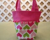 Hearts Bucket Bag, Purse in Candy Pink and Lime Green for Little Girl