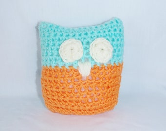 Crochet Owl Baby Rattle - Blue and Orange