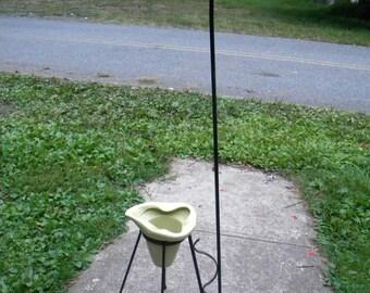 rare vintage antique 1950s mid century eames era wrought iron TRIPOD HAIRPIN PLANTER floor lamp stand