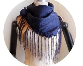 Silk scarf with fringes / Dark blue / Folk / Victorian / Pure Silk
