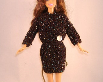 Handmade Barbie Glittery Black Crocheted Dress and Sweater - Sparkle Black SlipOn Dress with Buttoned Choker Collar, Long Sleeved Sweater