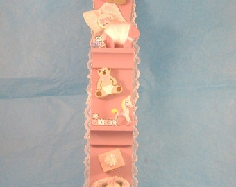 Miniature Dark Pink Wall Plaque With Lace Edging for Baby Girl - Great Shower Gift - Cute in the Nursery