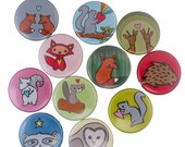Woodland Love - Pick your 4 Woodland Magnets - Deer, Hedgehog, Squirrel, Owl, Beaver, Rabbit, Fox, Wolf, Mouse, Skunk, Possum Magnets