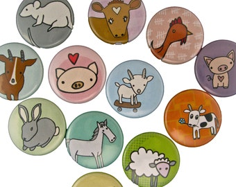 Farm Friends - Pick your 4 Farm Animal Pinback Buttons - Pig, Sheep, Cow, Goat, Chicken, Bunny, and Llama Badges