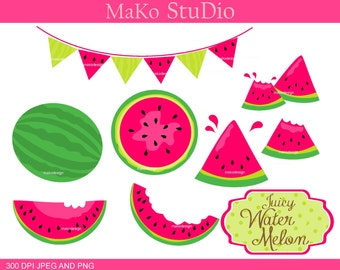 Watermelon Clip Art / Pink Summer Melon Digital Clip Art, summer fruits,pink red watermelon,PEG & PNG,instant download