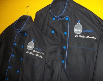 Custom Made Chef Jackets for your Entire staff that match. Hand Made of Black Cotton, Royal Blue Accents and Company Logo in different sizes