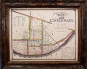 City of Cincinnati Map Print of an 1841 Map on Parchment Paper