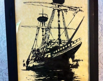 Pen and Ink Ship with Sails in Frame