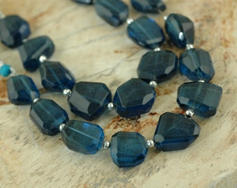 London Blue : Faceted Quartz Dyed Nugget, 15x17mm, 9 Beads, Nautical, Water, Soothing, Jewelry Making, Craft Supplies