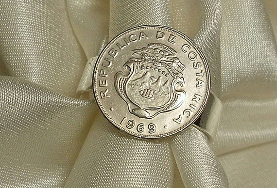 Costa Rica  Vintage Coin Ring 1969   45th birthday