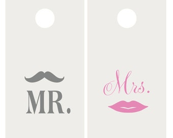 Mr. & Mrs. Mustache and Lips Wedding Vinyl Decal Set for Cornhole Game Boards