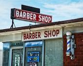Fort Worth, Texas, TCU, Texas Christian University, Barber Pole, - Fox's Barber Shop Neon