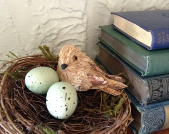 Straw Bird with Blue Eggs in Twig Nest Decoration