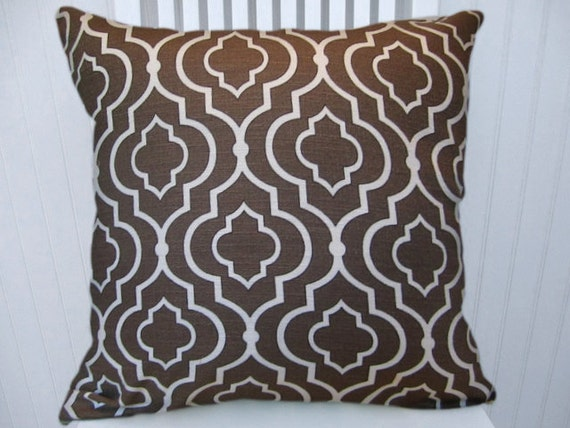 Brown, White Geometric Decorative Pillow Cover--18x18 or 20x20 or 22x22--Throw Pillow- Accent Pillow