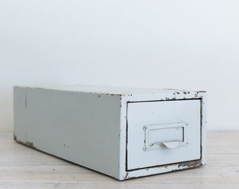 vintage industrial white metal filing drawer