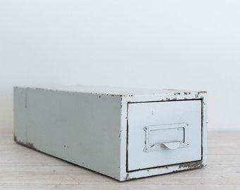 vintage industrial white metal filing drawer
