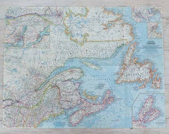 1967 eastern canada national geographic wall map