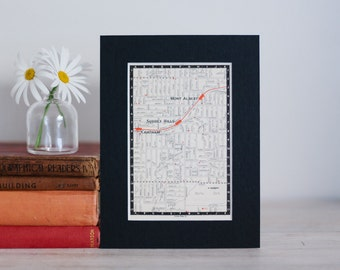 """1950s map of Melbourne suburbs, Australia - Surrey Hills, Mont Albert, Chatham, ready to frame, 6 x 8"""""""