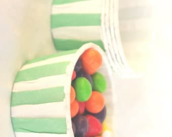 MiNT Stripe NuT/CANDy/PoRTiON CuPS-Gumballs, Snacks, Nuts, Cupcakes-Birthday Parties-Showers-25ct