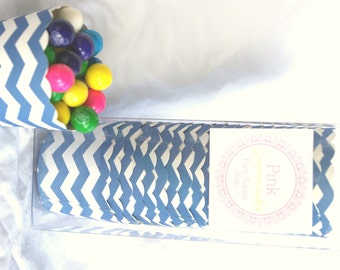 Small Navy Chevron-Boxed-Nut/Candy/Baking Cups-20ct--Parties--cupcakes-gumballs-snacks