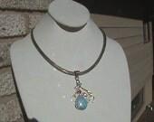 Vintage Native American Collar  Necklace and Large rare Larimar/Garnet pendant