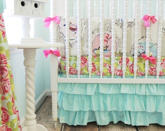 Boutique Cribset in Aqua and Pink with Beautiful Bird and Rose Print, Aqua Pink Vintage Bedding, Tumble Roses Crib Sheet