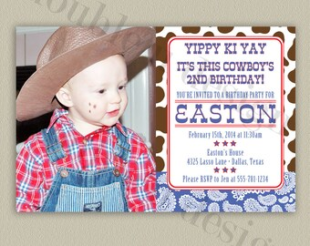 COLOR OPTIONS Cowboy Birthday Invitation with Paisley and Cowprint patterns - Printable